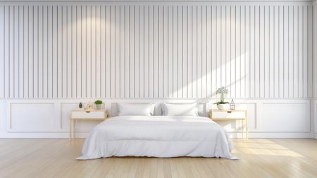 ミニマリストとスカンジナビアスタイル、居心地の良いベッドルームインテリア、白い部屋、3Dレンダー