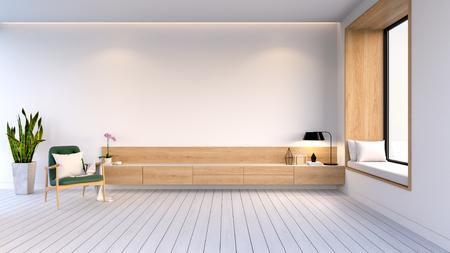リビングルームのモダンでミニマリストなインテリア、白い壁と白い床に緑の簡単な椅子を備えた木製キャビネット、3Dレンダリング 写真素材