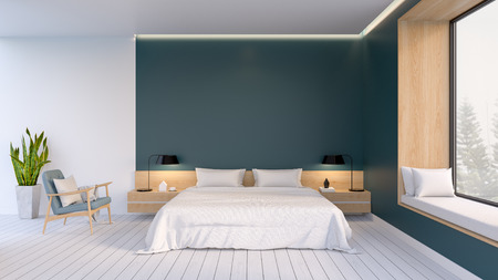 Minimalist interior of Bedroom ,white bed with easy armchair  on white flooring and dark green wall  ,3d rendering