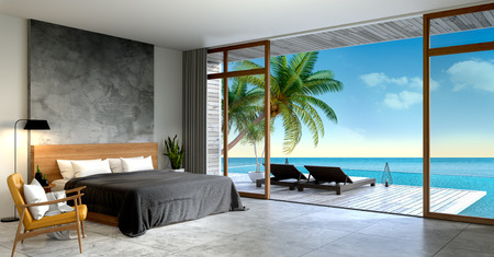 ベッドルームのモダンなロフトインテリア、夏、日光浴デッキのサンラウンジャー、ヴィラ3Dレンダリングで海のパノラマの景色を望む専用スイミ 写真素材