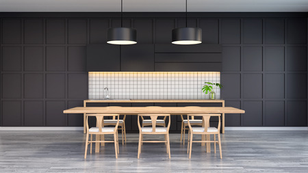 ダイニングルームのモダンでロフトのインテリア、暗い壁と木製の灰色の床に木製のテーブル付きの木製の椅子、3Dレンダリング