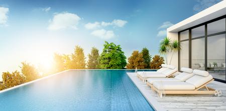 夏、ビーチラウンジ、日光浴デッキのサンラウンジャー、専用スイミングプール、豪華なヴィラ3Dレンダリングでの海のパノラマビュー