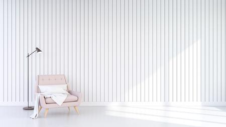 Diseño minimalista del interior de la sala de estar, sillón rosa pastel sobre fondo de pared blanca. Representación 3D Foto de archivo - 94312351