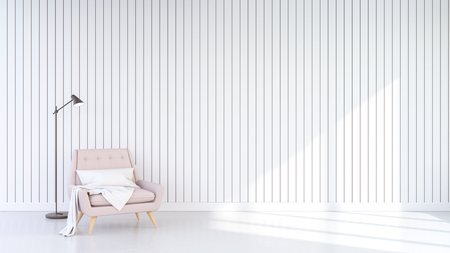 Minimalist Design of living room  Interior , Pastel pink armchair on  white wall background. 3D rendering