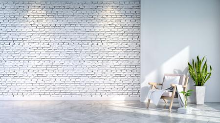 リビングルームのロフトとヴィンテージインテリア、白いコンクリートの床とレンガの壁にピンクのアームチェア、3Dレンダリング 写真素材