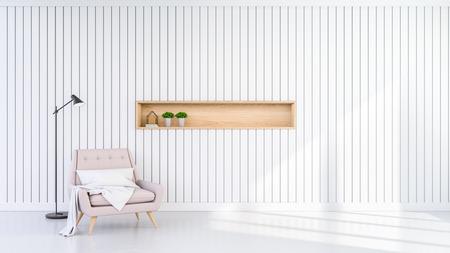 リビングルームインテリアのミニマリストデザイン、白い壁の背景にパステルピンクのアームチェア。3D レンダリング 写真素材