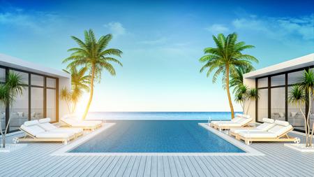 Una villa moderna, salón de playa, tumbonas en la terraza para tomar el sol y piscina privada y vistas panorámicas al mar / representación 3D Foto de archivo - 94393167