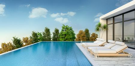 여름, 해변 라운지, 일광욕 데크와 일광욕 용 긴 의자, 전용 수영장과 럭셔리 빌라  3d 렌더링의 탁 트인 바다 전망