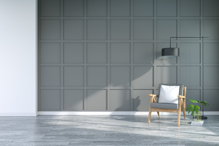 Interior moderno de la sala de estar con sillones en el piso de madera y la pared gris oscuro. Sala de comedor, representación 3d Foto de archivo - 94609978