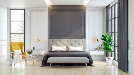 モダンな装飾、3dレンダリングとインテリアラグジュアリーと居心地の良いベッドルーム 写真素材