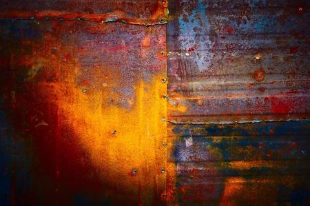 rust red: Textura de hermoso color amarillo-color azul oscuro, con una soldadura de punto de inserci�n