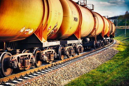 railroad transports: Set of tanks with oil and fuel transport by rail