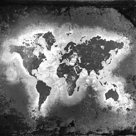 world locations: The world map, black-and-white tones, in style grunge Stock Photo