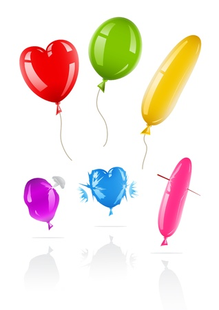 set of icons of balloons. New and spoiled Vector