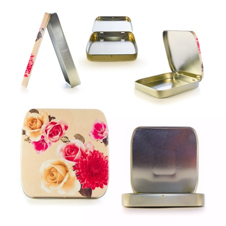 Metal box decorated with flowers. An open box. A collection in style vintage Stock Photo - 11662405
