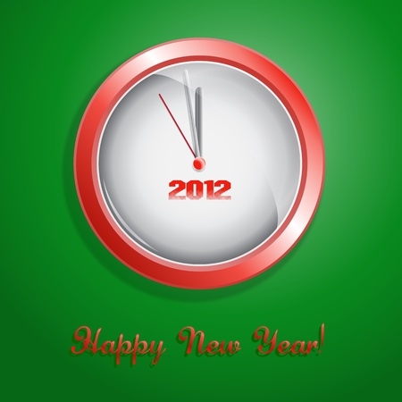 Vector illustration happy new year. Hours show minute prior to the beginning of new year Vector