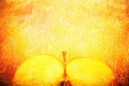 Art texture. An abstract background, a yellow apple in style grunge photo