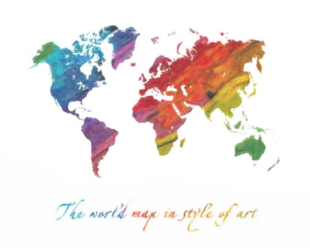 The world map in style of art. Multi-colored tones. Isolated on a white background
