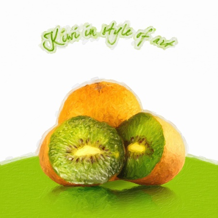 kiwi on a green background in style of art. A raster illustration. illustration