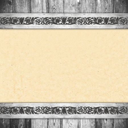 Background in style vintage. It is a texture of an paper, decorated along the edges of wooden boards photo