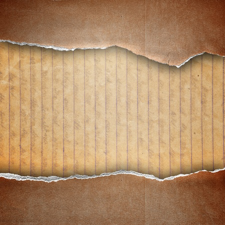 guideline: riped brown cardboard cover on guideline paper background Stock Photo
