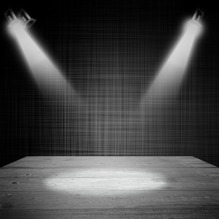 abstract dark interior shined with a projector photo