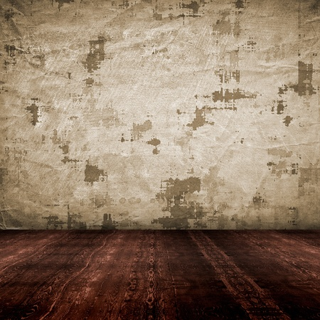 vintage empty interior with grunge paper wall photo