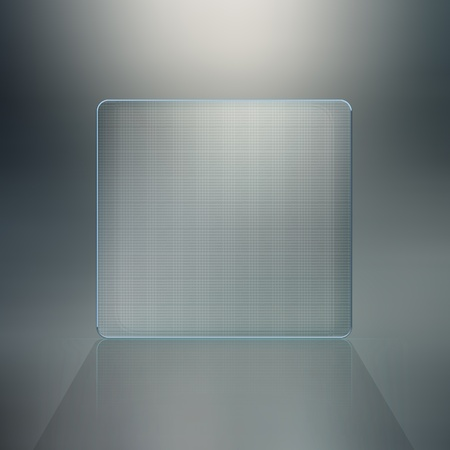 Blank glass plate background. Futuristic screen with copy space photo