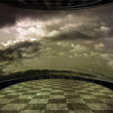 flooring design: grunge room background with a wall in clouds Stock Photo