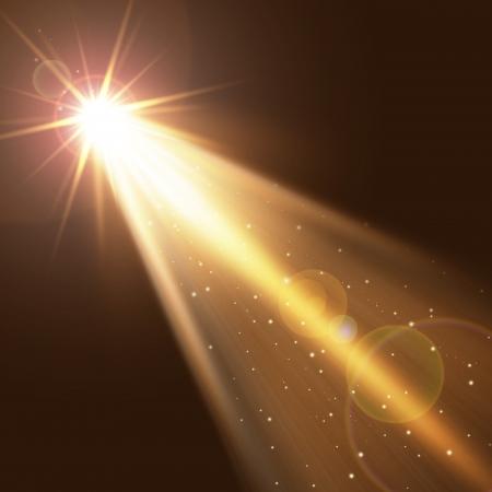 スモッグの背景上の単一の金のスポット ライトします。 写真素材