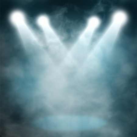 Spotlight blue on smog background photo
