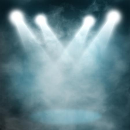 blue spotlight: Spotlight blue on smog background Stock Photo
