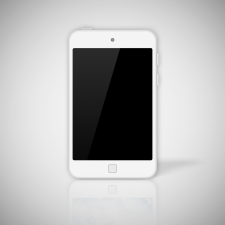 Tablet pc on gray background photo