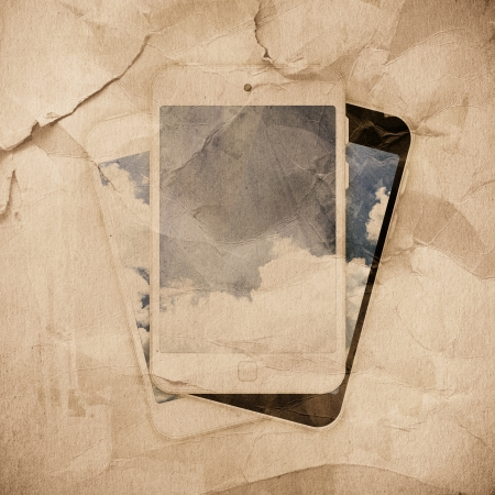 grunge distressed paper texture, tablet pc background photo