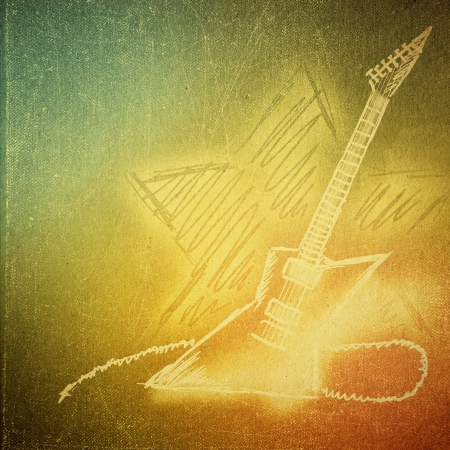 vintage paper texture, art music background, electric guitar photo
