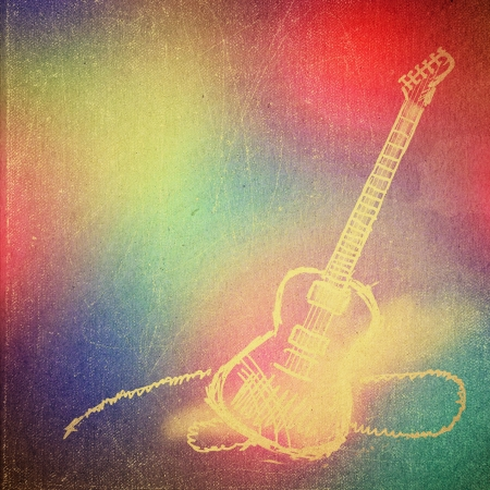 music background: vintage paper texture, art music background, electric guitar