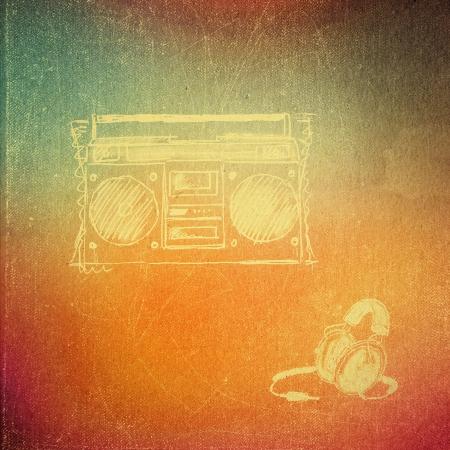 vintage paper texture, art music background, radio cassette player, headphones, photo
