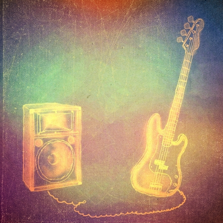 vintage paper texture, art music background, electric bass guitar photo