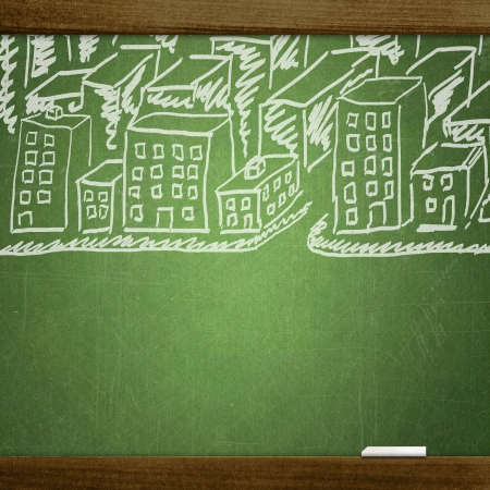 city drawn on school blackboard photo