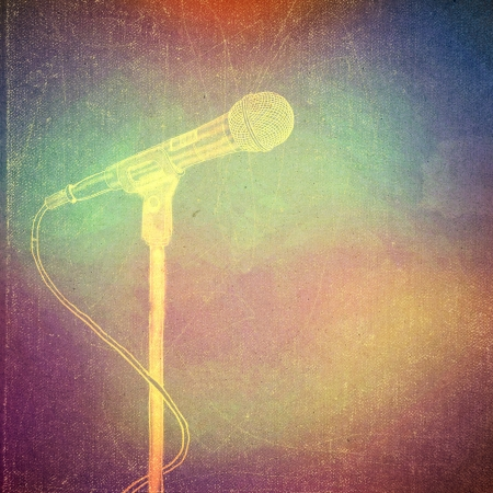 old poster: vintage paper texture, art music background, microphone Stock Photo