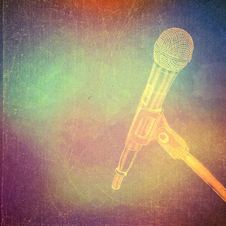 vintage paper texture, art music background, microphone photo