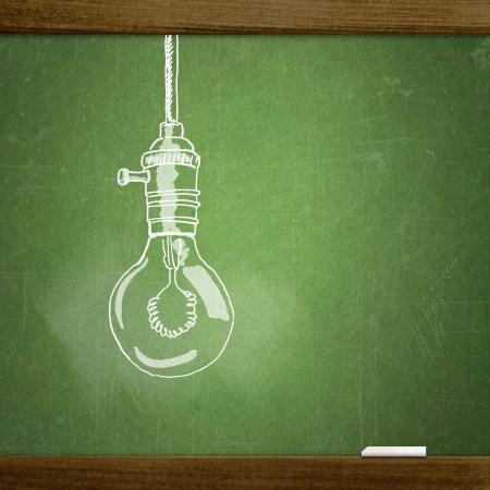 Bocetos escuela en la pizarra, la lámpara Foto de archivo - 20005876