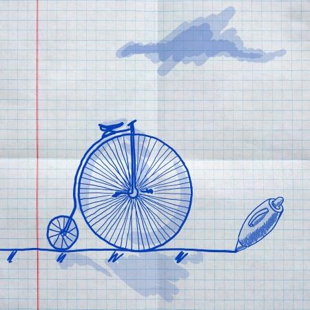school sketches on checkered paper, retro bike