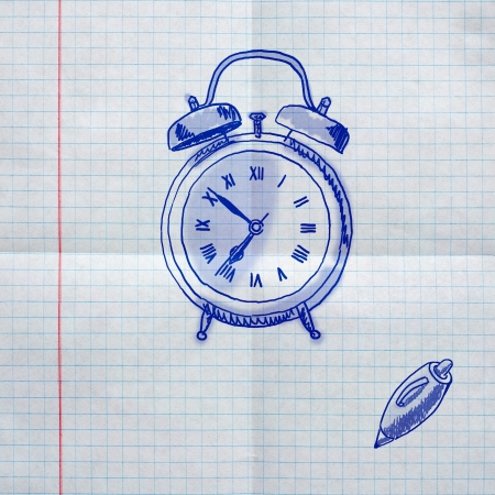 school sketches on checkered paper,  alarm clock photo