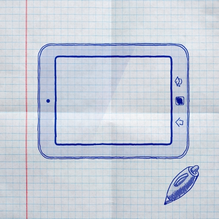 school sketches on checkered paper, tablet pc photo