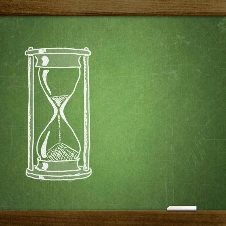 sketche hourglasses on school blackboard photo