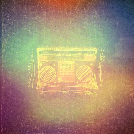 art retro music background, vintage paper texture, radio cassette player photo