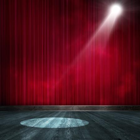 rideau de theatre: Contexte de l'Int?rieur montrent brill? avec un projecteur Banque d'images