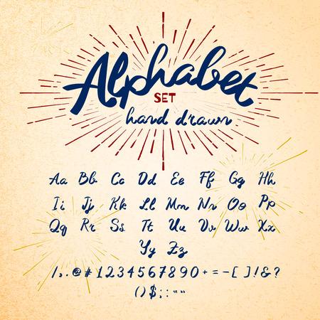 pila bautismal: Dibujado a mano alfabeto. Vector letras de tinta de la fuente. Dise�o tipogr�fico, letras, n�meros, s�mbolos en la textura de papel. Vector de la moda Hipster Sunburst elementos de dise�o