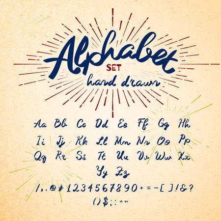write a letter: Hand drawn Alphabet. Vector Ink lettering font. Typographic design, Letters, Numbers, Symbols on Paper texture. Vector of Trendy Hipster Sunburst Design Elements